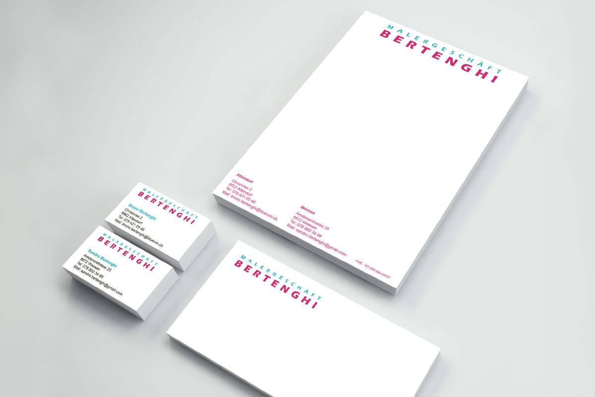 Briefschaften Malergeschäft Bertenghi